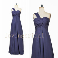 2014 Long One-shoulder Chiffon Prom Dress Bridesmaid Dress Party Dress Simple Homecoming Dress Formal Prom Dress Custom