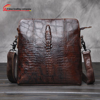 Crocodile leather style vertical section small satchel leisure package Messenger Brown single Shoulder Bags