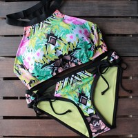 Final Sale - Bikini Lab - It Takes Hue High Neck Bikini Top