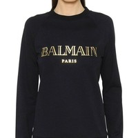 CREYONV BALMAIN PARIS Fashion Trending Women Men Hot Long Sleeve Sweater Black G-KWKWM
