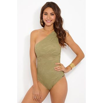 South Beach One Shoulder One Piece Swimsuit - Green Zebra Animal Print