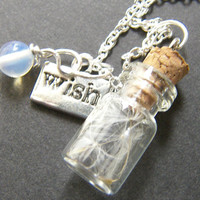 Glass Vial with Dandelion Seeds Charm Necklace - Make a Wish Pendant