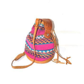 On Sale 80s Mexican leather BOHO BUCKET bag / vintage 1980s colourful woven GEOMETRIC Ikat Baja Guatemalan drawstring purse