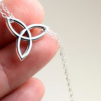 All Sterling Celtic Necklace, Celtic jewelry, Celtic Trinity Knot,  minimalist jewelry, sterling jewelry