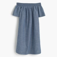 Petite chambray off-the-shoulder dress