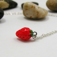 Strawberry Necklace - Strawberry Pendant - Fruit Charm - Strawberry Jewelry - Delicate Strawberry Charm - Gift Under 20 - Berry Necklace -