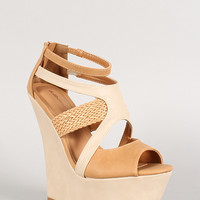 Dollhouse Two Tone Woven Cutout Peep Toe Platform Wedge