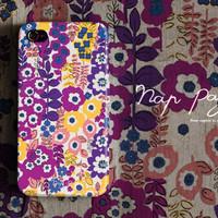 Apple iphone case for iphone iphone 5 iphone 4 iphone 4s iPhone 3Gs  : Abstract cute vintage purple and yellow floral pattern