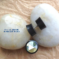 """Fake Gauge, Faux Plugs, """"Mosaic"""" Mother of Pearl, Abalone, Horn, Natural, Handcrafted, Tribal"""