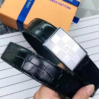 LV 2019 new white checkerboard buckle smooth buckle belt