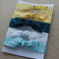 Set of 5 Elastic Bow Hair Ties in Yellow Chevron by coutureflower
