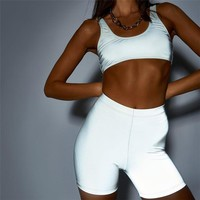 New women's fashion reflective leisure suit two-piece