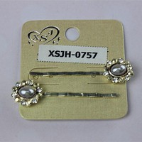 2 pieces/sets of stainless steel long fashion hairpin with pearls Women jewelry crystal flowers The girl's birthday present 2015