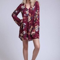 Elle Burgundy Floral Dress by Blu Pepper - FINAL SALE!