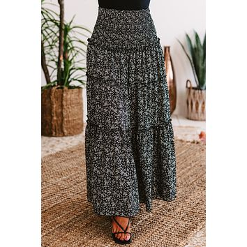 Sunny Expectations Tiered Floral Maxi Skirt (Black)