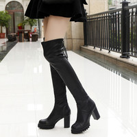 2017 new fashion Winter Shoes Women warm Thigh High Over The Knee Boots High Heels Thick with Boots Ladies Shoes High boots