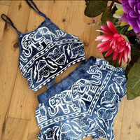 Print Two Piece Crop Top And Short B007878