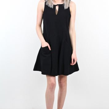 Keyhole + Pockets Tank Dress {Black} - Size SMALL