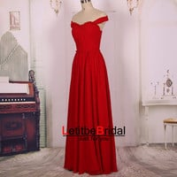 2015 Cheap Sweetheart Off Shoulder Long Chiffon Red Prom Dresses Gown/Formal Evening Dress Gowns/Party Dress/Bridesmaid Dress/Custom/Maxi