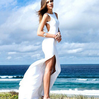 Sleeveless Backless Bodycon Maxi Beach Dress