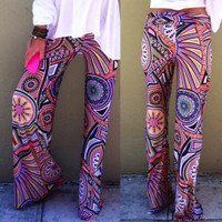Multi Color Printed High-Waist Pants