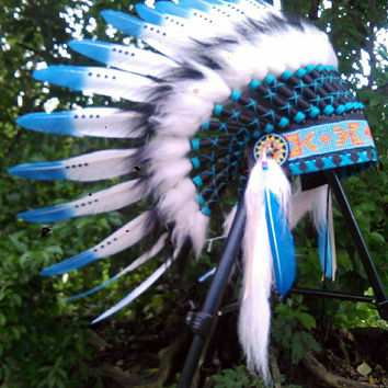 White blue Indian Headdress, Native American Clothing, Indian Warbonnet, Chief Indian, Rave, Pow Wow, Tee pee party, edc, Tomorrowland