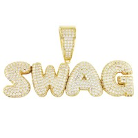 Men's Swag Solid Back Gold Finish Silver Iced Out Pendant