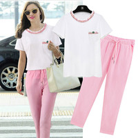 White Short Sleeve Shirt With Pink Waist Tie Pants