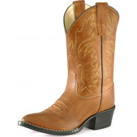 Old West Kids Tan Leather R Toe Cowboy Boots