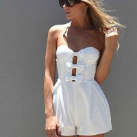 White Strapless Romper with Cutout Bow Front