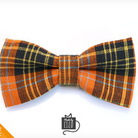 "Pet Bow Tie - ""Hocus Pocus"" - Orange Plaid Tartan Detachable Bowtie for Cats + Dogs"