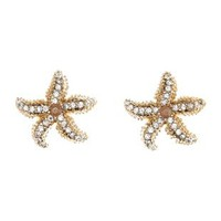 Gold Rhinetone Starfish Statement Stud Earrings by Charlotte Russe