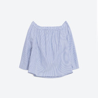 STRIPED OFF - THE-SHOULDER POPLIN TOP-Blouses-TOPS-WOMAN | ZARA United States