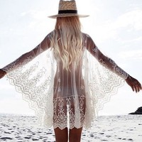 Beach Blouse Ladies Lace Embroidery Sexy Bikini Jacket [11601018906]