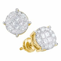14kt Yellow Gold Women's Princess Round Diamond Soleil Cluster Earrings 1-6 Cttw - FREE Shipping (USA/CAN)