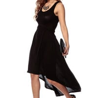 Lovely Ballad High Low Black Maxi Dress