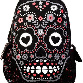 Rockabilly Love Day of the Dead Flower Candy Sugar Skull Backpack