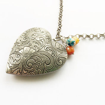Antiqued Silver Heart Locket, Turquoise Orange Yellow Gemstones