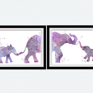 Set of 2 elephants watercolor art, baby elephant and mother, Safari art print, kid's room decor, children art, African animals, purple   S3