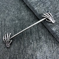 Skeleton hands Industrial/Scaffold barbell 14 gauge stainless steel body jewelry