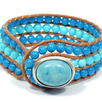 turquoise beaded bracelet * beaded leather cuff bracelet * turquoise button clasp * beaded jewelry * bohemian style leather cuff wrap