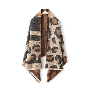 Animal Stripes Print Leopard Scarf [6047359361]