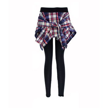 Leggings with Attached Plaid Shirt 8 Colors