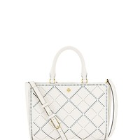Tory Burch Robinson Crosshatch Small Zip Tote
