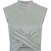 Gray Ruched Detail Crop Top