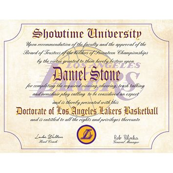 "L.A. Lakers Showtime Ultimate Basketball Fan Personalized Diploma - 8.5"" x 11"" Parchment Paper"