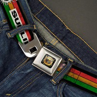 Sublime Men's  Sun Stripe Rasta Seatbelt Buckle Belt Multi