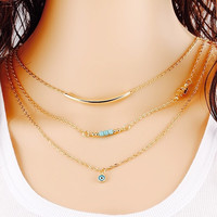 Gold Eye and Turquoise Layer Chain Necklace