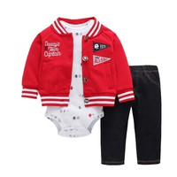 newborn baby clothes long sleeve letter embroider coat&jacket+romper+pants 3PCS clothing set for 0-24M baby boy girls outfits