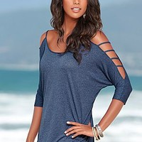Heathered Navy (HENV) Sleeve Detailed Top